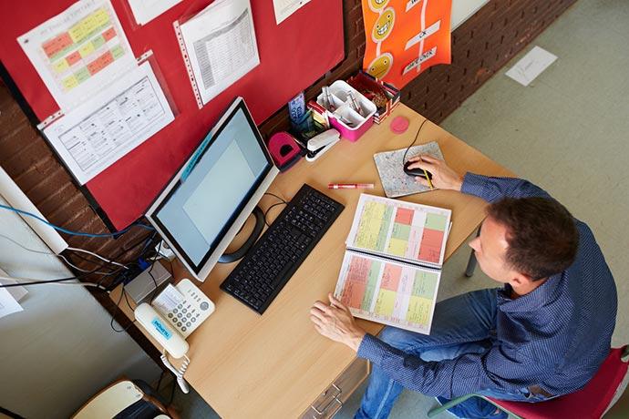 Teacher Using Online Teaching Software