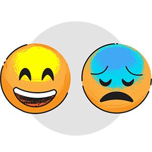 Student Mental Health - Illustration of happy and sad face