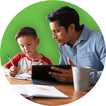 LanSchool Distance Learning - Parent helping child with school