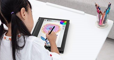 K-12 Distance Learning 2020 - Student drawing on a tablet