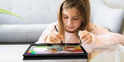 K-12 Student at Home using a Lenovo Chromebook 500e Tablet